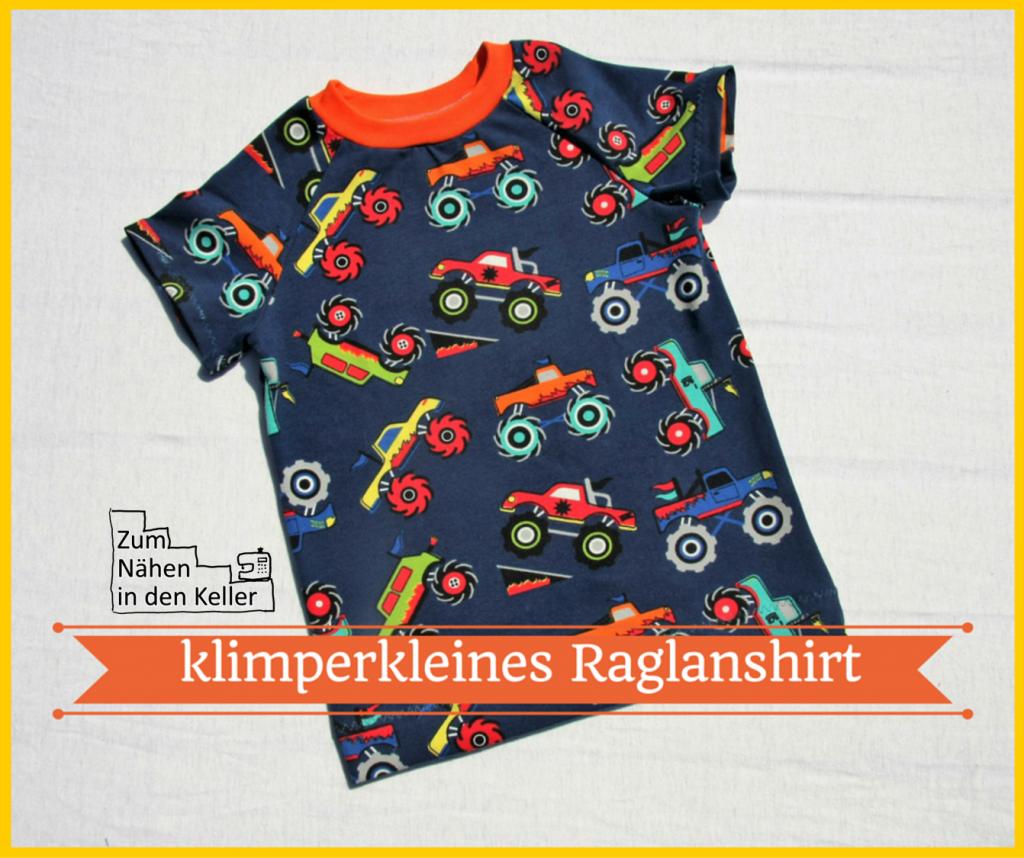 T-Shirt Raglanshirt von klimperklein mit Monstertrucks | Zum Nähen in den Keller