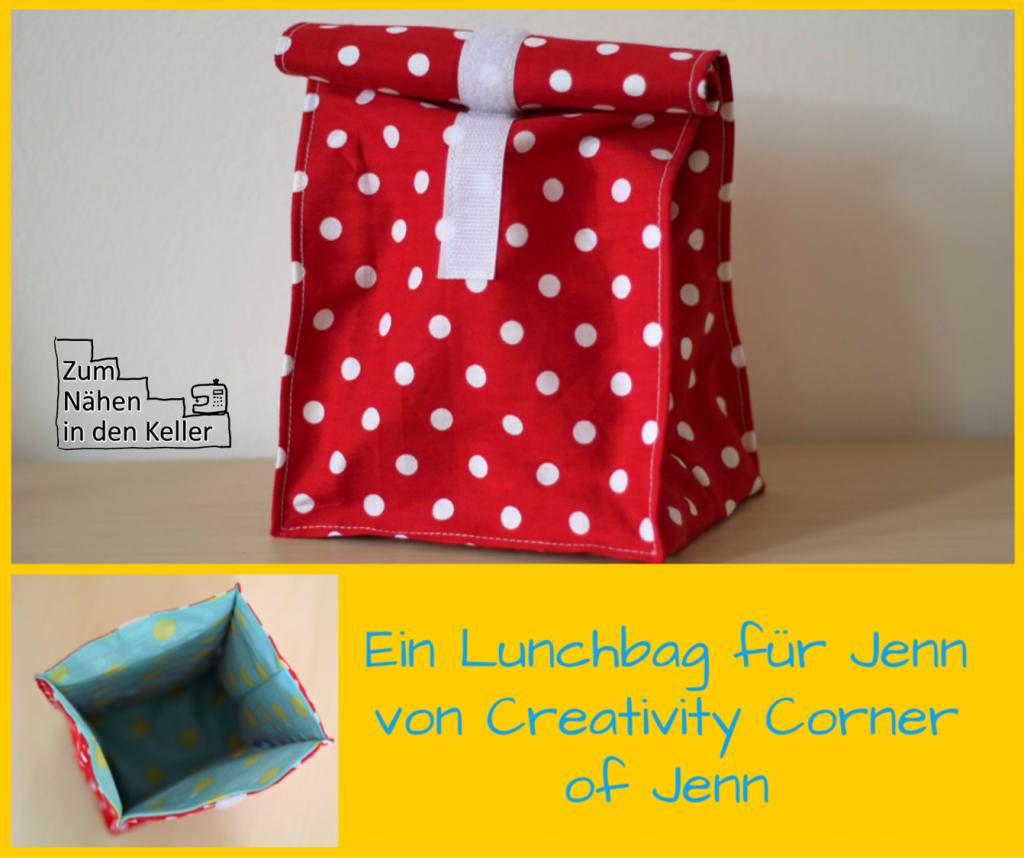 Lunchbag genäht nach dem Freebook von Pattydoo aus Baumwolle und beschichteter Baumwolle | Zum Nähen in den Keller