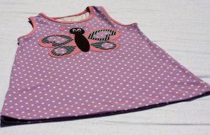 Trägerkleid Kleidchen, Jerseykleid Klimperklein mit Applikation Schmetterling von Kleine Fadenprinzessin | Zum Nähen in den Keller