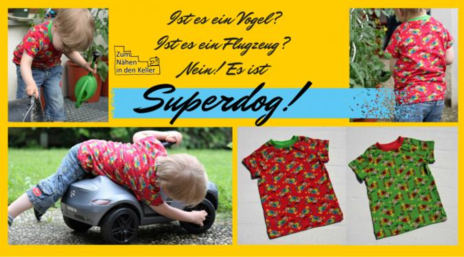 Superdog! Raglanshirt T-Shirt klimperklein mit Superhunden Superheld Hund | Zum Nähen in den Keller
