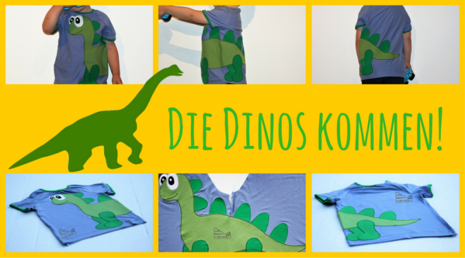Raglanshirt T-Shirt klimperklein mit Applikation Dinosaurier Langhals Diplodocus Kleine Fadenprinzessin Dino Zum Nähen in den Keller | application sew shirt dinosaur