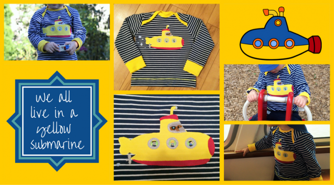 U-Boot Applikation nach dem Design von Künstlerkind auf einem Raglanshirt Langarmshirt nach Klimperklein. Jersey mit Streifen ist von Stoffonkel, Bio. Genäht von Zum Nähen in den Keller | Submarine Applique freebook on shirt