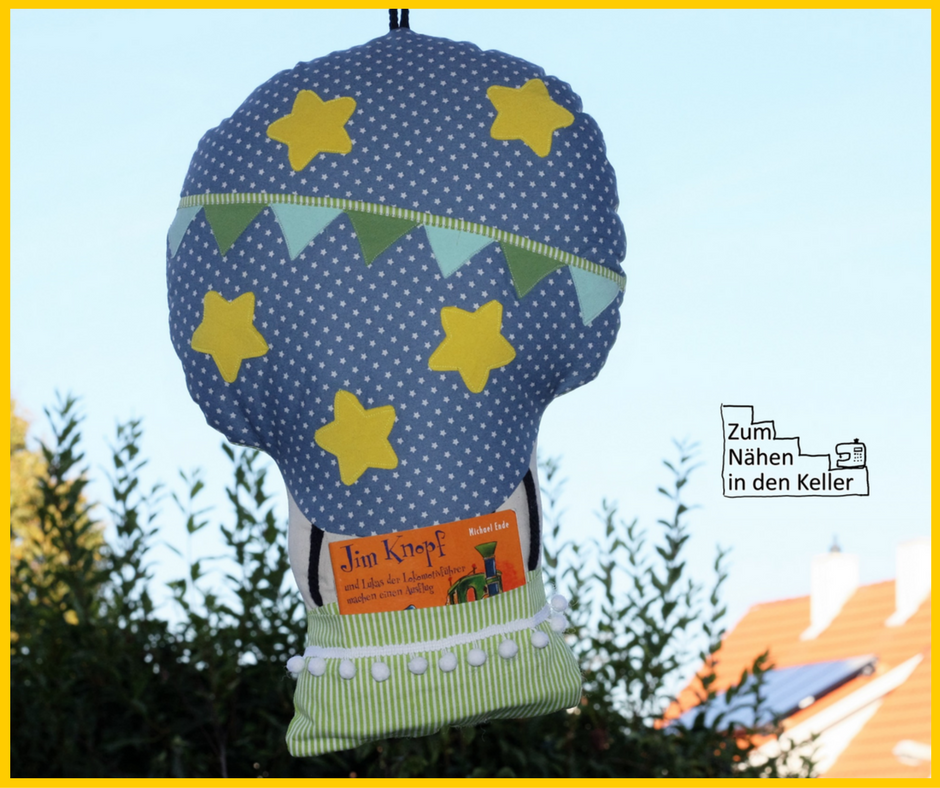 LunaJu Luftikus Heißluftballon Fesselballon Kissen Pillow hot air balloon toll für Kinder wonderful for kids Zum Nähen in den Keller sew