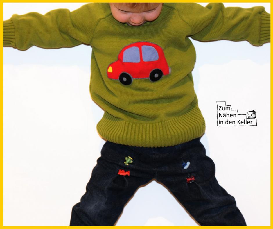 Raglanpullover Pullover Pulli Raglanpulli Upcycling nach dem Schnitt aus dem Buch Nähen mit Jersey Kinderleicht von Klimperklein. Die Auto Applikation ist aus der Rush Hour Serie von Oberschätzchen. Unter der Appli versteckt sich noch eine Quietsche - total cool! Zum Nähen in den Keller