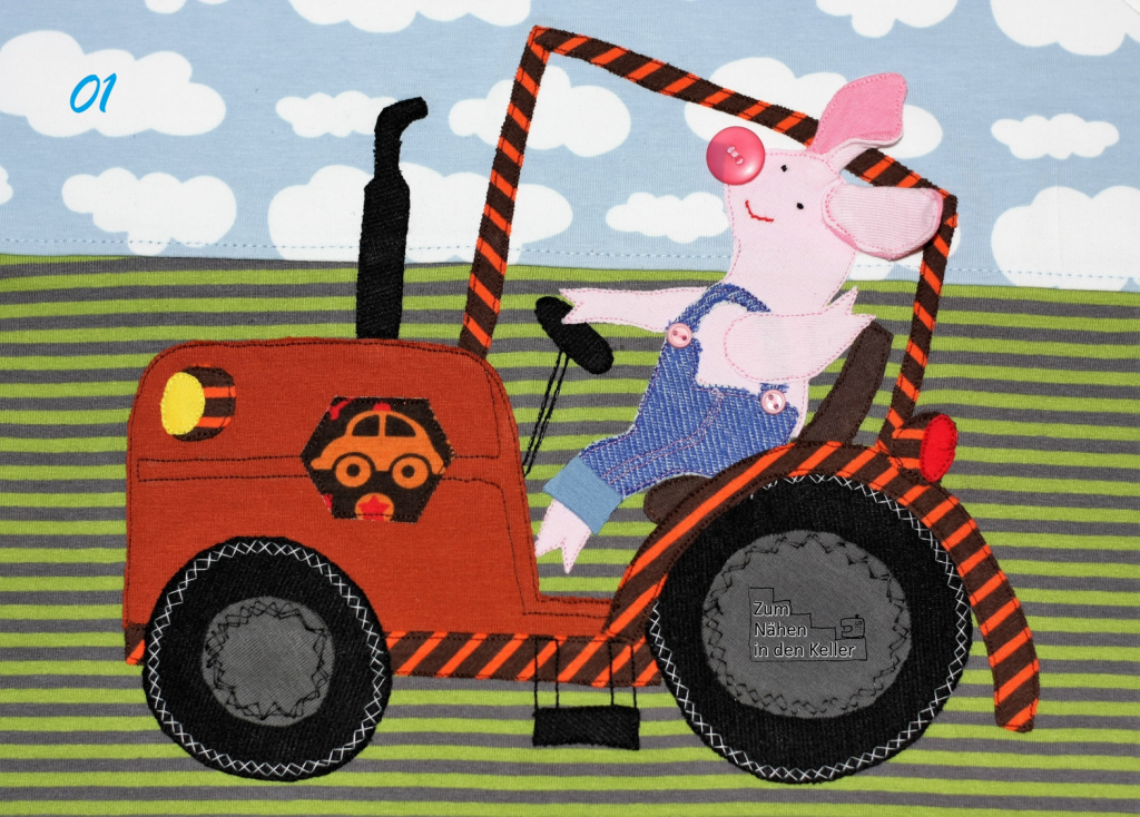 John Piglet Pig on Tractor Application Design by krakracraft appliziert von Zum Nähen in den Keller Applikation application applizieren Traktor Schwein Ferkel toll für Jungs