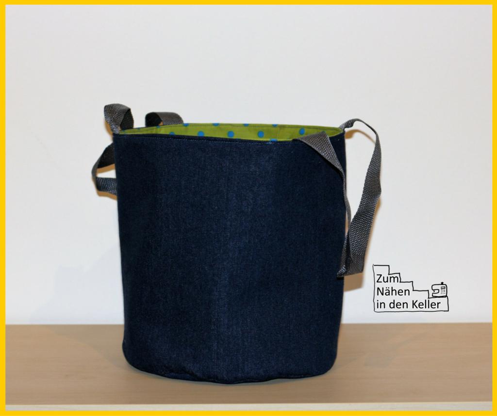 Stoffkorb Utensilo mit Henkeln schön groß und stabil aus Jeans und Webware Baumwollstoff verstärkt mit Decovil light und Vlieseline H630. Toll für Bücher, zum Spielzeug-Aufräumen oder oder oder... Zum Nähen in den Keller