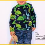 babyshirt klimperklein nähen amerikanischer Ausschnitt Dinosaurier für Jungs made for boys dinos jersey Zum Nähen in den Keller
