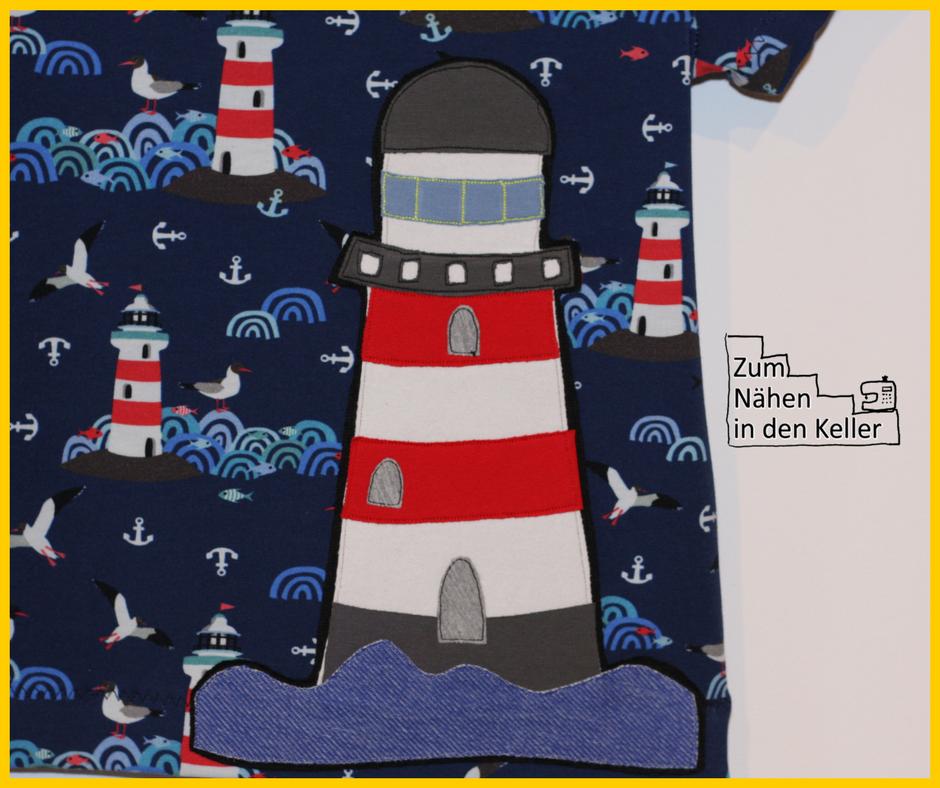 Leuchtturm T-Shirt Raglanshirt Kids Erbsenprinzessin mit Applikation von Herzensbunt Design. Zum Nähen in den Keller