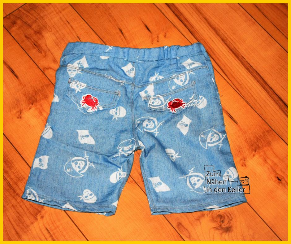 Freebook Mottis Shorts Pirat Jeans kurze Hose Zum Nähen in den Keller
