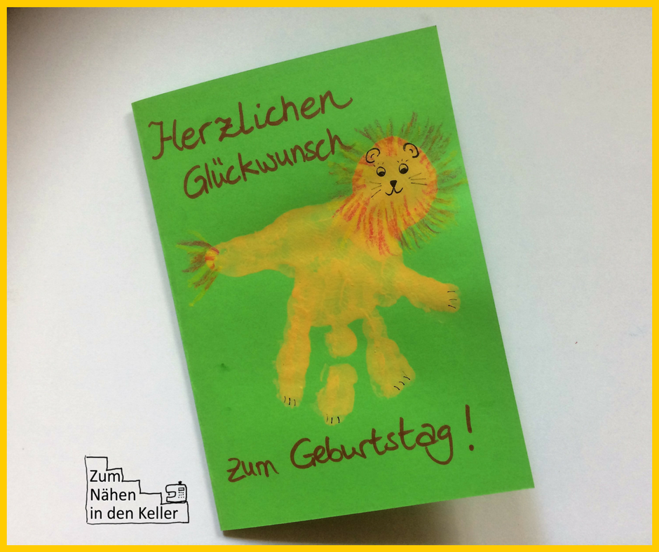 handprint art Handabdruck Stempel Löwe lion Geburtstagskarte birthday card