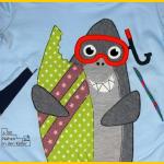 Kai der Hai Frau Fadenschein auf Hoodie mit Wickelkragen aus Klimperklein Nähen mit Jersey Buch Zum Nähen in den Keller