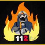Applikation Feuerwehrmann nach der Vorlage von kikykidz auf Hoodie Pullover Edi von Lolletroll. Zum Nähen in den Keller.