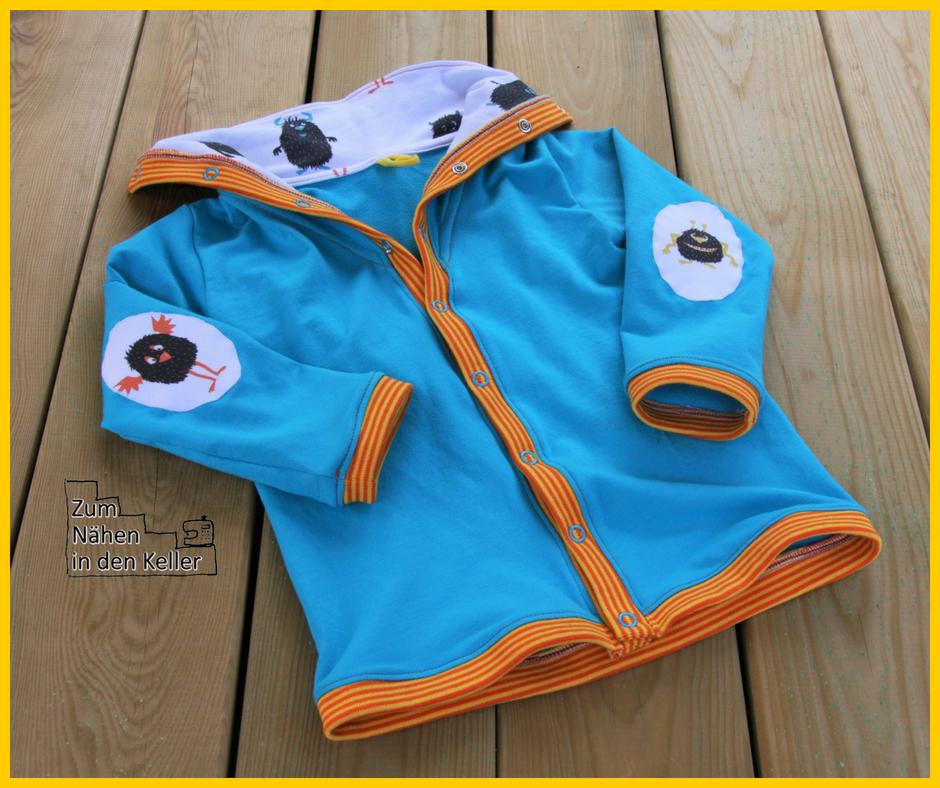 Momo Cardigan Knuddelmonster.ch Stick & Style Sewprise Bag März Jungs für den Menschenskinder Sew Along - Zum Nähen in den Keller