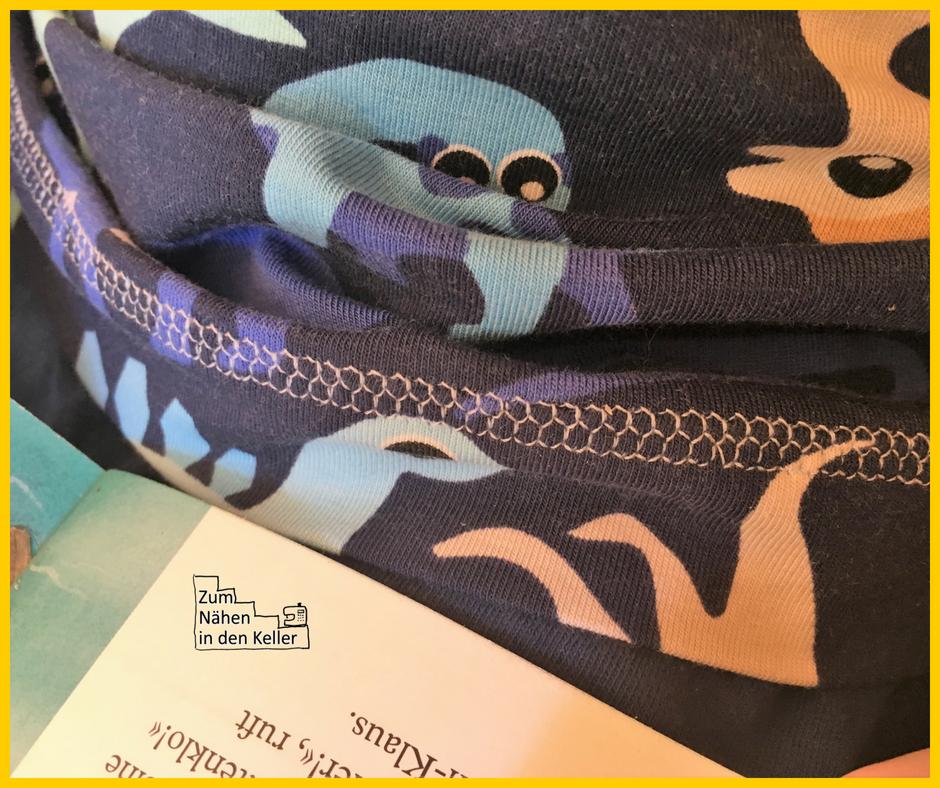 Knöpfshirt nach Muhküfchen mit Dinos Dinosaurier Jersey von Stoffspektakel, Jersey Druckknöpfe von Snaply, T-Shirt, Zum Nähen in den Keller