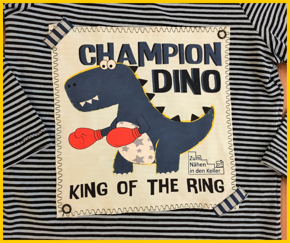 klimperklein, raglanshirt, applikation, nähen für jungs, champion dino, king of the ring, panel, jersey, zum nähen in den keller