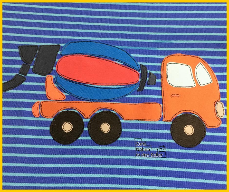 Simples Shirt aus dem Klimperklein Buch Nähen mit Jersey mit Betonmischer-Applikation nach der Vorlage von Oberschätzchen Zum Nähen in den Keller