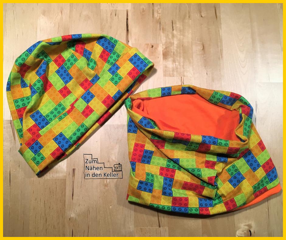Minutenmütze nach Klimperklein aus Lego Jersey mit Halssocke Schal - Zum Nähen in den Keller